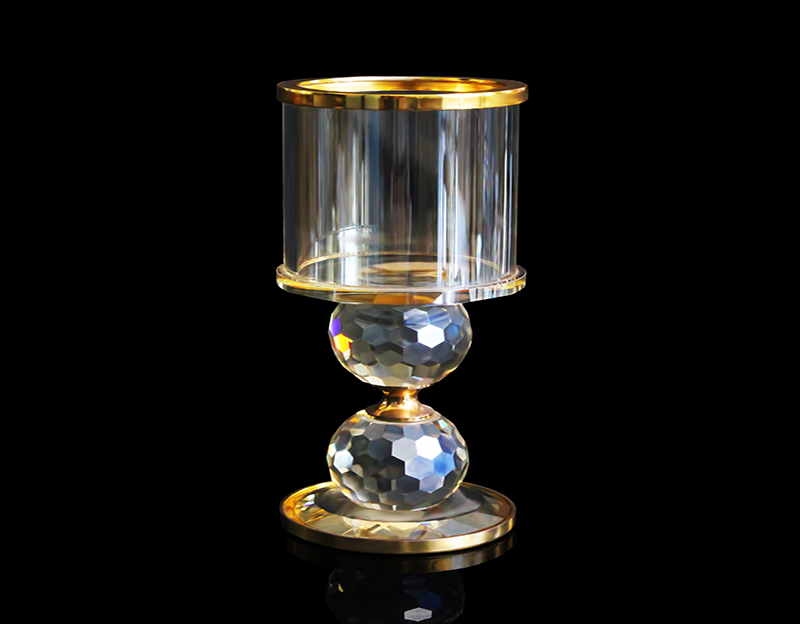 Golden Crystal Candlestick 6-Inch