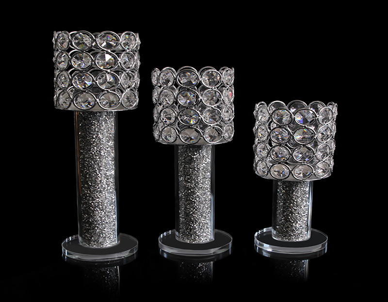Crystal Candle Holder Radiant Rhinestones Inside Candlestick